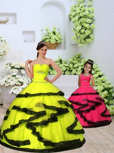 Custom Made Organza Yellow Princesita Dress With Beading And Ruching