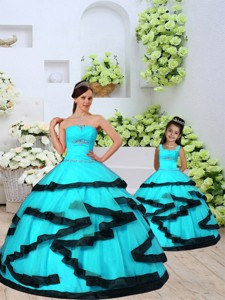 Fashionable Aqua Blue Princesita Dress With Beading And Ruching