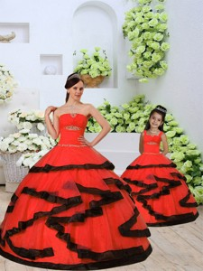 Most Popular Beading and Ruching Princesita Dress in Red