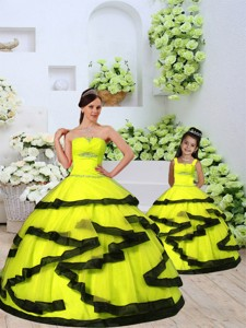 Classical Organza Yellow Princesita Dress With Beading And Ruching