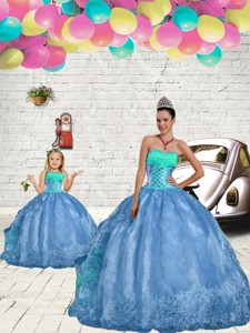 New Style Beading And Embroidery Princesita Dress In Aqua Blue Spring