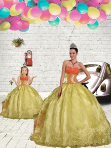 Unique Beading And Embroidery Light Yellow Princesita Dress