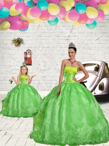 Fashionable Green Princesita Dress With Beading And Embroidery