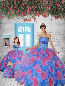 Most Popular Blue And Red Princesita Dress With Appliques And Ruffles