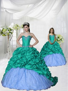 Fashionable Appliques Brush Train Princesita Dress In Turquoise