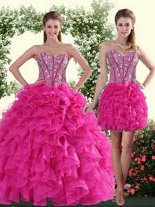 Sweetheart Hot Pink Sweet 16 Dress With Beading And Ruffles