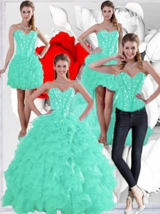 Summer Pretty Ruffles And Beaded Quinceanera Dress In Apple Green