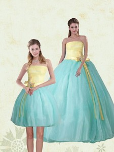 Perfect Strapless Multi Color Quinceanera Gown With Bowknot