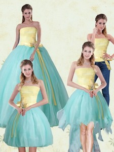 Strapless Floor Length Multi Color Quinceanera Gown With Bowknot