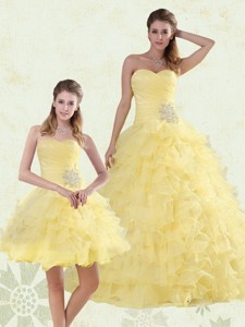 Beaded and Ruffled Sweetheart Quinceanera Dress in Yellow