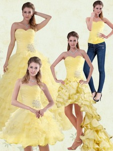Yellow Beaded And Ruffled Sweetheart Quinceanera Dress