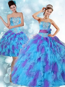 Beaded Strapless Multi Color Quinceanera Dress With Ruffles And Sash