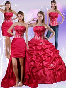 Strapless Red Quinceanera Dress With Appliques And Pick Ups