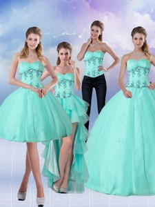 Pretty Apple Green Sweetheart Quinceanera Dress With Appliques And Beading