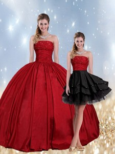 Strapless Beaded Quinceanera Dress In Red And Black