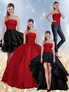 Beaded Strapless Ball Gown Quinceanera Dress In Red And Black