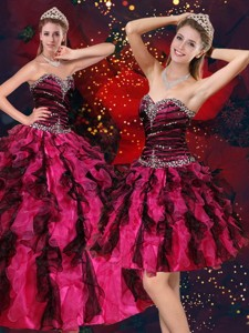 Pretty Multi Color Sweetheart Quince Dress With Beading And Ruffles