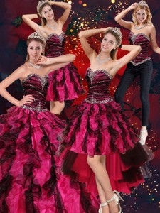 Sweetheart Beaded And Ruffled Sweet 15 Dress In Multi Color