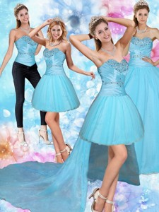 Sweetheart Baby Blue Quinceanera Dress With Beading