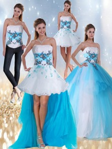 Strapless Multi Color Quinceanera Dress With Appliques And Beading