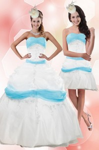 Strapless Floor Length Appliques Quince Dress