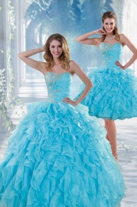 Beautiful Baby Blue Sweet 16 Dress With Beading And Ruffles