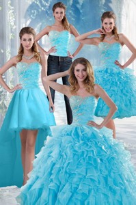 Beautiful Appliques Quince Dress With Beading And Ruffles