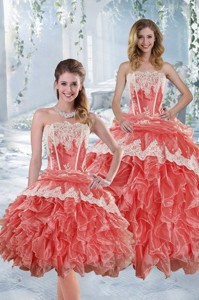 New Style Strapless Appliques And Ruffles Quinceanera Dress In Watermelon