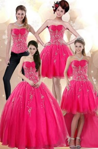 Elegant Strapless Hot Pink Dress For Quince With Appliques