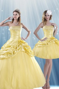 Fashionable Strapless Beading Quince Dress With Beadings And Pick Ups
