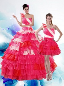 Unique Multi Color Quince Dress With Ruffled Layers And Beading