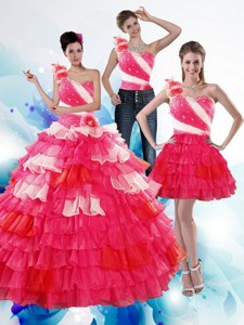 One Shoulder Ruffled Layers And Beading Multi Color Quinceanera Dress