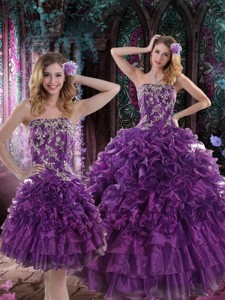 Pretty Purple Dress For Quince With Appliques And Ruffles