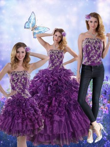 Fantastic Purple Strapless Quince Dress With Appliques And Ruffles