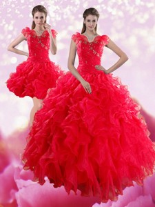 Sophisticated Red Sweetheart Dress For Quince With Ruffles And Beading