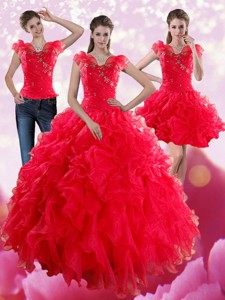 Red Sweetheart Quince Dress With Ruffles And Beading
