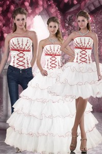 Lovely White Quince Dress With Appliques And Ruffled Layers