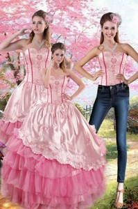 Pink Strapless Quinceanera Dress With Embroidery And Ruffles