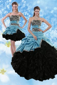 Zebra Print Multi Color Strapless Quince Dress With Ruffles And Pick Ups