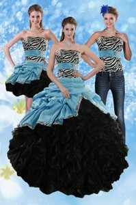 Zebra Print Strapless Multi Color Sweet 15 Dress With Ruffles And Pick Ups