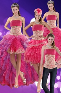 Modest Beading And Lace Quinceanera Dress In Hot Pink