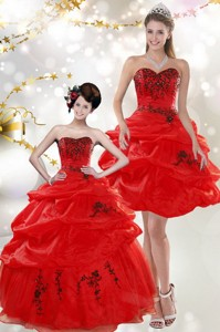 Beautiful Strapless Red Quinceanera Dress With Appliques And Pick Ups