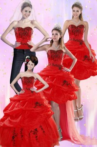 Pretty Red Quinceanera Dress With Appliques And Pick Ups