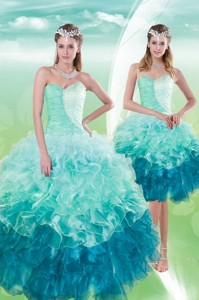 Pretty Sweetheart Multi Color Quince Dress With Beading And Ruffles