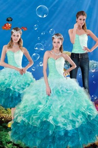 Summer Popular Multi Color Sweetheart Quince Dress With Beading And Ruffles