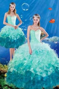 Luxurious Multi Color Ruffles And Beaded Quince Dress In Multi Color Summer