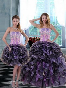 Elegant Appliques And Ruffles Quinceanera Dress In Multi Color