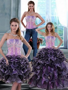 Fashionable Appliques And Ruffles Quince Dress In Multi Color