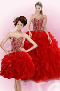 New Style Red Quince Dress With Beading And Ruffles