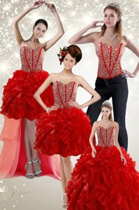 Newest Beading And Ruffles Quince Dress In Red